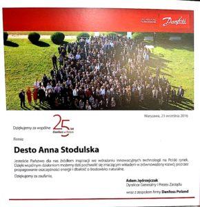 podziękowania dla desto 290x300 Nasi Partnerzy świadczą o naszej jakości. 25 lecie Danfoss w Polsce