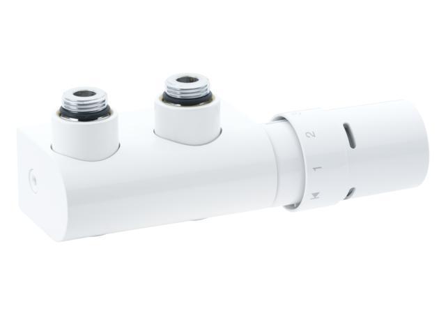 położeniegłowicy bardzo łatwo zmienićna stronę prawą. Z zestawem w wersji kątowej może być stosowana grzałka elektryczna montowana z prawej lub lewej strony zaworu. Zestaw VHX-Mono do grzejników dekoracyjnych łazienkowych posiada specjalną rurkę zanurzeniową (dla wewnętrznej cyrku¬lacji wody w grzejniku)