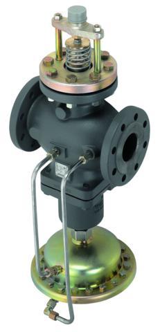 2 bar. AFQM jest zaworem odciążonym hydraulicznie. Regulator stosowany jest głównie w układach ciepłowniczych z wodą obiegową o Tmax=150°C.