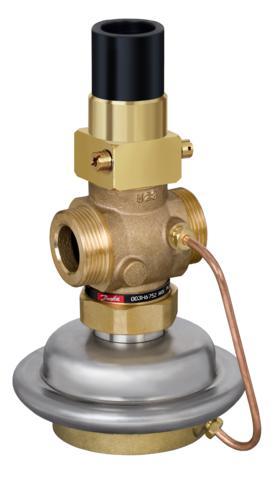 gdy żądany maksymalny przepływ zostanie przekroczony. AVQM może być sterowany przez regulator elektroniczny ECL współpracujący z siłownikiem AMV(E).