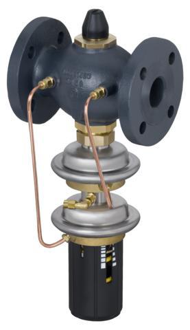 siłownik z dwoma membranami i nastawnik różnicy ciśnień.