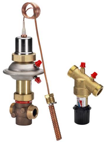 składa się z zaworu regulacyjnego i sterującego. Regulator wykorzystuje zasadę kompensacji przepływu poprzez współpracę z zaworem sterującym zamontowanym przed wymiennikiem ciepła na zasilaniu wody zimnej. Regulator stosowany w układach z przepływowymi wymiennikami ciepła