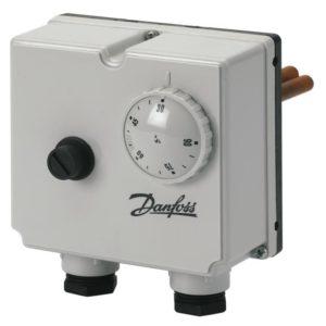 ST-2 termostat (TR) i bezpiecznik temperatury (STB). Termostaty bezpieczeństwa współpracują z siłownikami wyposażonymi w sprężynową funkcję bezpieczeństwa. Termostat ST w momencie osiągnięcia nastawionej temperatury bezpieczeństwa zwalnia sprężynę powrotną siłownika powodując zamknięcie zaworu. Termostaty bezpieczeństwa są zg. z DIN 3440