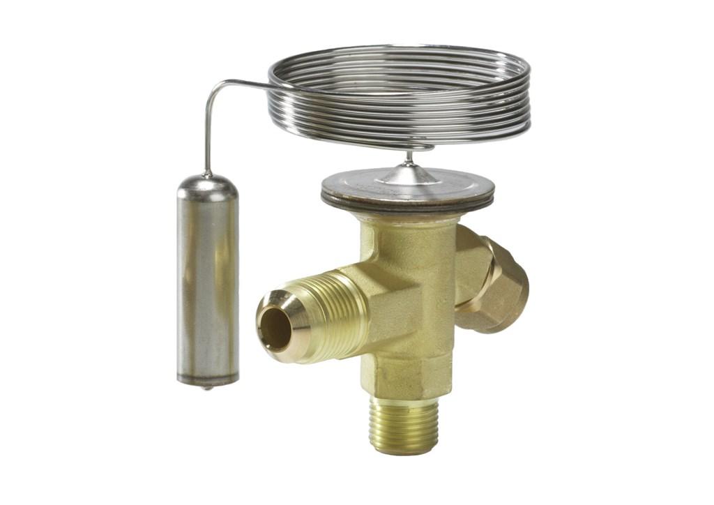 TZ 2/TEZ 2, zawór z przyłączem śrubunek / śrubunek do czynnika R407 C, element termostatyczny i korpus zaworu