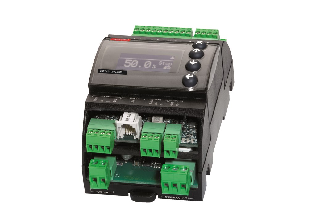 CAN: Communication to other EKE controllers Mounting: DIN rail Display: Graphical LCD display